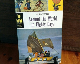 Jules Verne, Around the World in 80 Days, 1st Scholastic Edition/Printing. Charming Little Book. (1964)