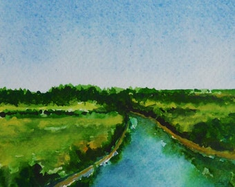 Small Art Painting, River Landscape, Watercolor Painting, Nature Landscape, Fine Art Watercolor, Birthday Gift, Gift, Dutch Landscape Wall Art