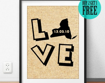 Love State Prints, Personalized Wedding Sign, Anniversary Gift, New Apartment, Housewarming, Burlap Print, Rustic Home Decor, Wall Art, CM38