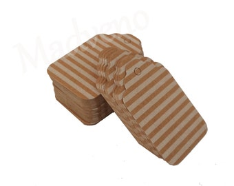 Lot of 10 labels cardboard Brown stripes