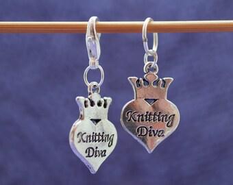 Knitting Diva Knitting or Crochet Stitch Marker, Knitting Stitch Marker, Knitting Tools, Crochet Tools, Gift for Knitters, Progress Keeper