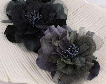 Prima Flower Namazzi Charcoal - Black Flower - Prima Fabric Flower - Flower Embellishment - Black Fabric Flower - Prima Black Flower