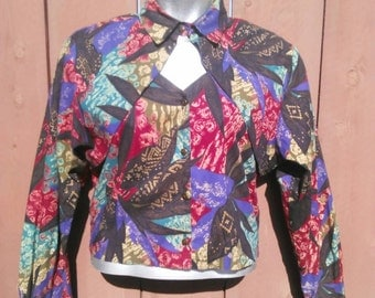 Vintage 1990's Colorful/Abstract Top/Shirt/Blouse- Size L