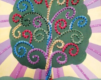 Tree Art with Mardi Gras beads