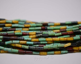 9MMx4MM, Aged Wampum Multi Picasso Mix, Bugles/Tubes, Aged Czech Glass Seed Beads, 20inch Strand (Approx 56-60 Beads)