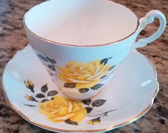 Royal Ascot Teacup & Saucer, Yellow Rose Gold Trim, Genuine Bone China, Made in England, ca. 1950