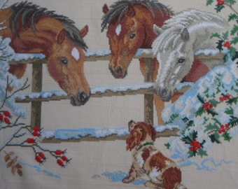 Horse and puppy, Handmade Embroidery, Embroidery Home Decor