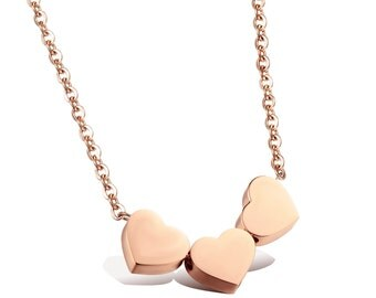 Rose Gold Three Heart Necklace