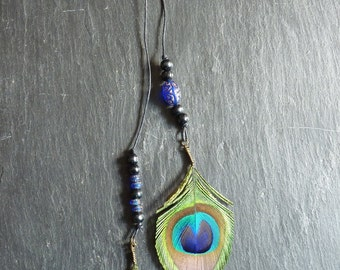 Strip metal with feathers of Peacock and beads - ethnic Style - Peacock feather