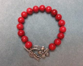 Cherry Red Howlite Bracelet w/Lg. Silver Flower Toggle
