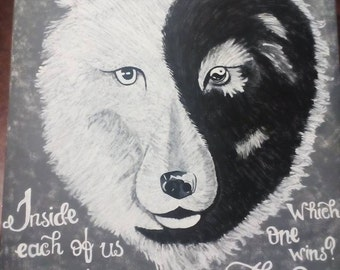Hand Painted Wolf Canvas