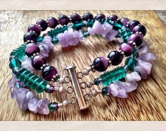 Violet and Green Three Strand Beaded Bracelet