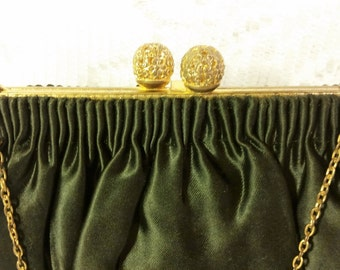 Vintage 1930's WALBORG Evening Bag - Made in France Sensuous Black Satin over Brass Frame W/ Reticulated Push Ball Clasp