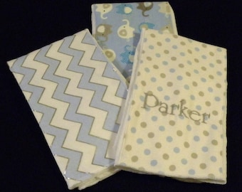 3 personalized baby boy burp clothes