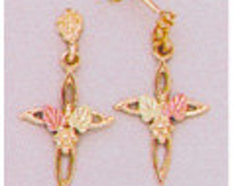 10kt Gold Small Cross Earrings 10kt Gold Earrings with 12kt Red And Green Gold Leaves.