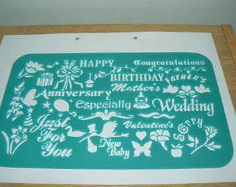 Type 09 English Greeting Wedding wishes shape plastic drawing stencil template