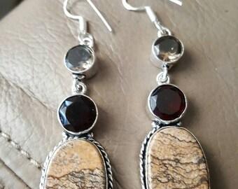 Jasper and Quartz Earrings!