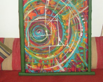 Abstract painting raw wood framed
