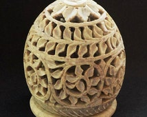 Stone Tea Light Candle Holder Hand Carved- Mughal style