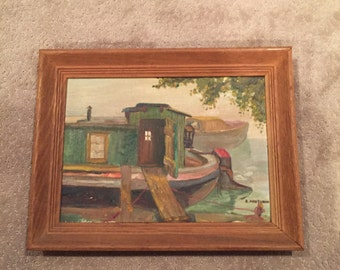 Vintage oil painting - house boat