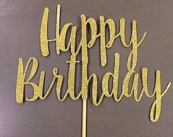 Happy Birthday Cake Topper | Gold Glitter | Silver Glitter