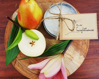 Asian Pear & Lily Scented Premium Natural Soy Wax Container Candle In Medium Clear Lid Metal Travel Tin - 6oz - 100g