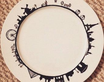Paris Scene Handmade Sharpie Plate