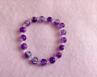 Purple & Clear Beaded Bracelet.