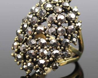 Vintage style multi crystal ring(Brown)