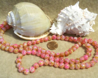 8 mm Beads Round Glass Beads, Pink/Tan (D87)