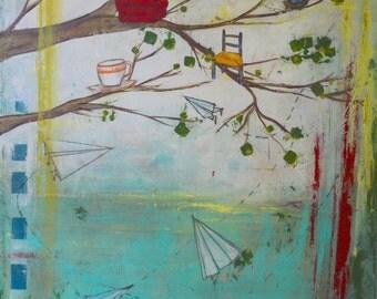 COMING HOME original mixed media acrylic painting