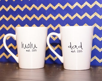 Coffee mug, mom est., dad est. personalized, coffee cup, new parents, fathers day, mothers day, gift
