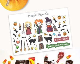 P143-Hocus Pocus inspired stickers, Halloween planner stickers, planner stickers, black cat, potion stickers, 36 stickers