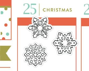 P163-Snowflake stickers, christmas planner stickers, snow stickers, snowman, winter, 40 stickers