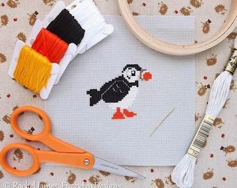 Pretty Little Puffin Easy Beginners Cross Stitch Pattern PDF