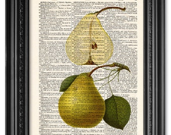 Pear print, Dictionary art print, Kitchen art, Kitchen decor, Vintage book art print, upcycled dictionary page, Home Wall Decor [ART 083]