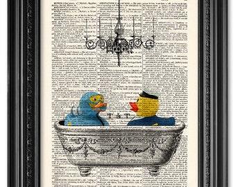 Bathtime, rubber duck print, Dictionary art print, Vintage book art print, Bathroom wall decor, Bathroom Decor, Gift poster [ART 071]