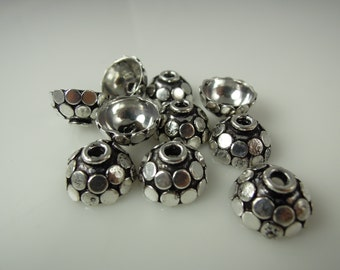 Bead Caps Bali Style Rhodium Plated Brass Silver #9705