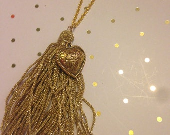 Gold Heart and Tassle Necklace