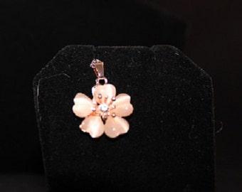 Vintage Pink Flower Mother of Pearl Swarovski Crystal Necklace, 18 inches, 313218