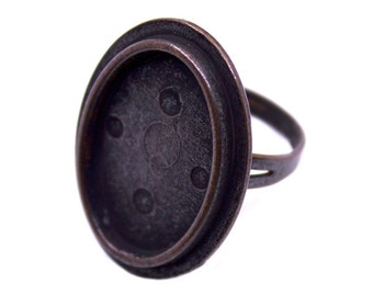 3 Copper Adjustable Ring Base Blank Findings with 29x22mm Oval Pad Cameo Setting