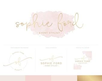 Watercolor Logo Design Branding Package Inc. Photography Logo Watermark - Pink Watercolor Gold Foil Logo