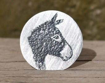 Silver Donkey Brooch, Donkey pin, Donkey jewellery, Donkey Jewelry, Donkey Brooch, Donkey Present, Donkey Gift,Donkey,Animal Jewellery, Mule