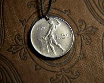Italy L50 Lira. Real Coin Pendent. REPVBLICA. ITALIANA  Сoin jewelry. Mens Necklace, Womens Necklace, Birth Year 1972