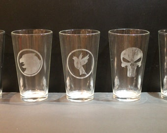 Two 16oz Etched Glass Tumblers