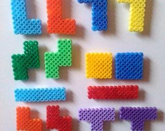 14 x Fridge Magnet, ironing beads, Tetris