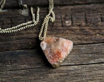 Peach Dream - Druzy Necklace
