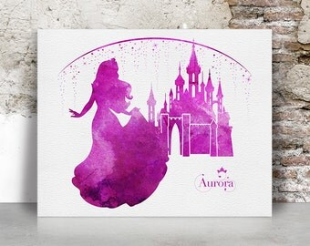 Disney print, Aurora, Sleeping Beauty, Princess, Watercolor, Poster, Aurora castle, Disney castle, Wall art, Kids decor, FamouStars