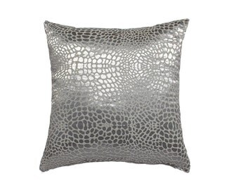 Animal Print  Pillow Cover- Silver, White,