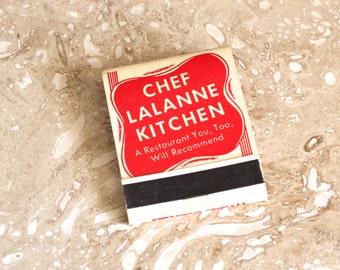 Chef LaLanne Kitchen matchbook - restaurant matches - Nebraska matchbook - advertising matchbook - matchbook cover